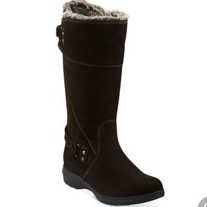 SALE Clark's Sheba Ayer Fur Cuff Suede Boots 9M